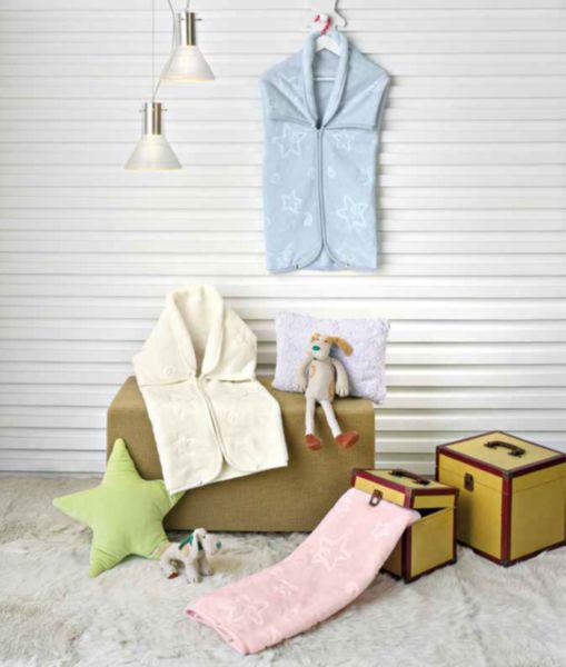 PIELSA  Бебешко одеяло-чувалче 80/90 розово релефно звезди